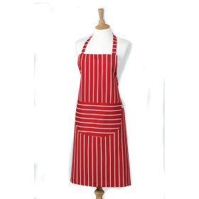 Belle - Kitchen textiles - butchers stripe kitchen apron 101 x 88 cm red