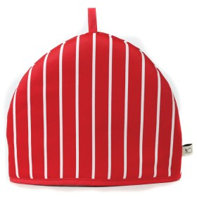 Belle - Kitchen textiles - butchers stripe tea cosy red