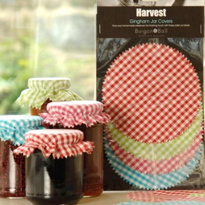Burgon and Ball gingham jar covers - pack of 12 from dowricks.com