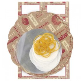 Decorative preserve covers, labels, tags & string - red / cream