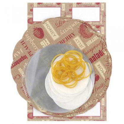 Decorative preserve covers, labels, tags & string - red / cream from dowricks.com